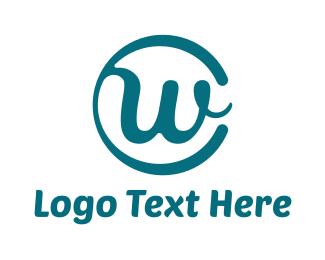 Cursive - Round Cursive W logo design