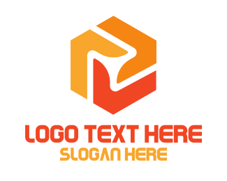 Machinery - Orange Hexagon Propeller logo design