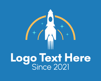 Spaceship - Fork Rocket logo design