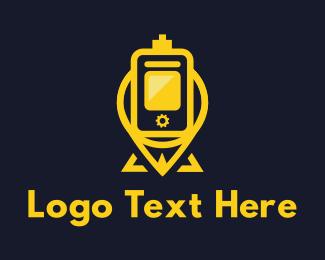 Smartphone - Yellow Pin Vaping logo design