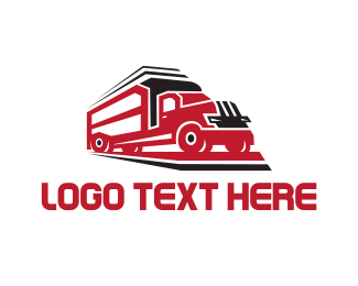 Trucking Company - Red Trailer logo design