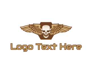 Airforce - Gold Wing Skull logo design