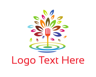 Fork - Colorful Fork Fountain logo design