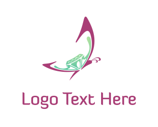 Butterfly - Butterfly & Diamond  logo design