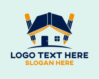 Pencil - Book House logo design