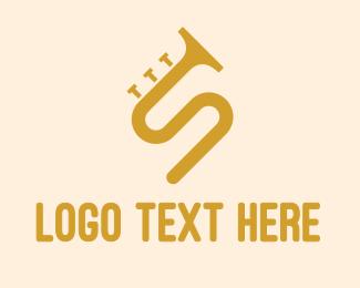 Trumpet - Golden S Horn logo design
