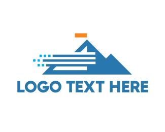 Tourism - Abstract Windy Mountain logo design