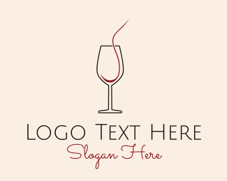 Pub - Red Wine Glass Cup  logo design