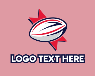 Football - Ribbon Rugby Ball logo design