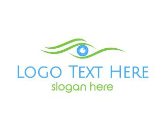 Optical - Green Wave Eye logo design
