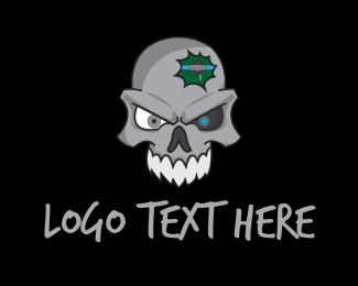 Aggressive - Robot Skull logo design