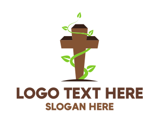 Religious - Vine Cross logo design