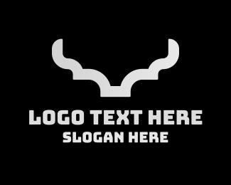 Bison - Silver Modern Horns logo design