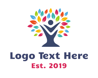 Early Learning Center - Rainbow Leaf Tree logo design