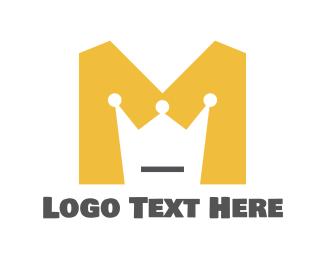 Mustard - Yellow M Crown logo design