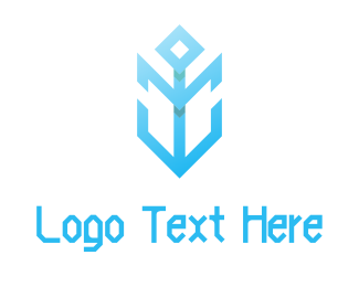 Nautical - Modern Blue Anchor  logo design