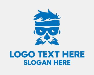 Mustache - Blue Old Man logo design