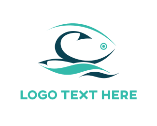 Water - Fishing Hook  logo design