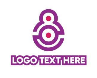 Violet - Violet Modern Number 8 logo design