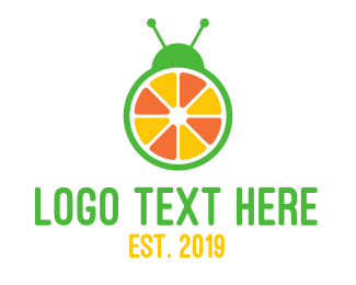 Lady Bug - Orange Fruit Bug logo design