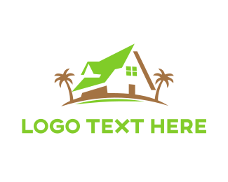 Tropical - Green Beach House logo design