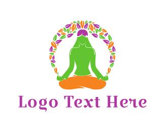 60s - Floral Yoga logo design