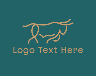 Oxen - Bull Outline logo design
