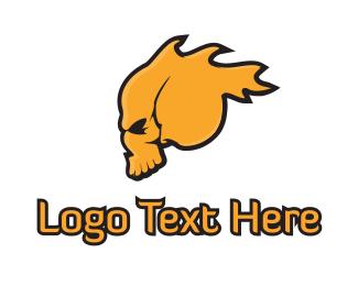 Dead - Flaming Skull logo design