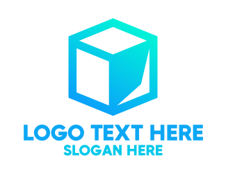Storage - Abstract Blue Cube logo design