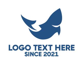 Abstract Blue Fish Logo