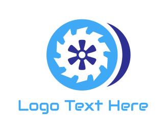 Mechanic - Blue Round Saw logo design