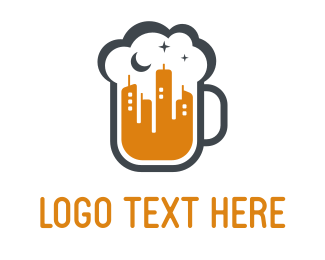 Pub - Beer Night Building logo design