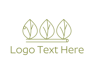 Trio - Minimalist Green Leaves logo design