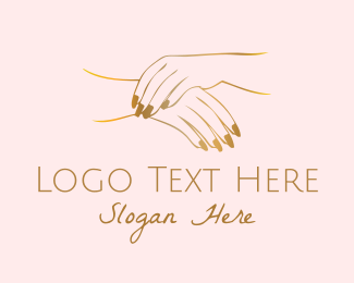 Nail Salon - Golden Hands logo design