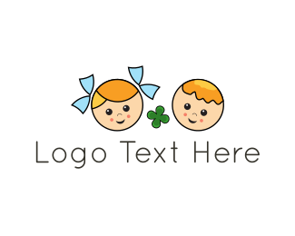 Boy And Girl - Lucky Kids logo design