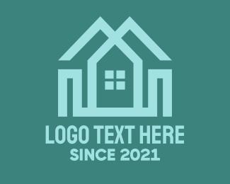 Duplex - Green Twin House logo design