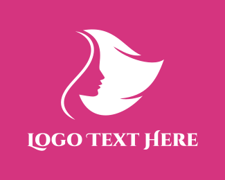 Hair Salon - Pink Feminine Head logo design