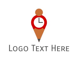 Clock - Pencil Clock logo design