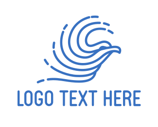 Aeronautics - Abstract Blue Bird  logo design