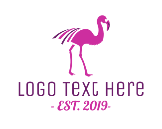 Purple And Pink - Pink Flamingo logo design