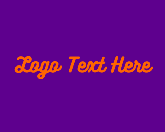 80s - Purple & Orange Wordmark logo design