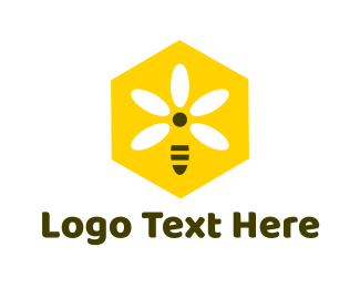 Honey - Bee Flower logo design
