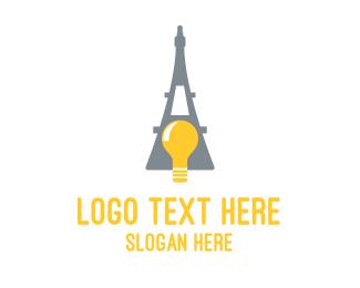 Eiffel - French Bulb logo design