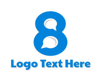 Number 8 - Chat Number 8 logo design