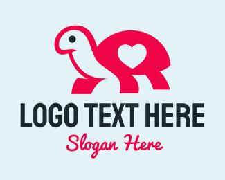 Tortoise - Pink Turtle Heart logo design