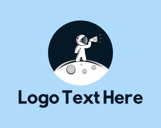 Outer Space - Moon Astronaut logo design