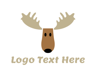 Reindeer - Moose Cartoon logo design