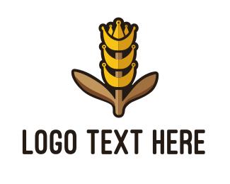 Crown - King Grain logo design