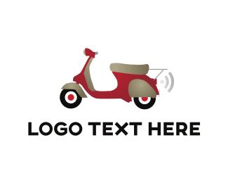 Vespa - Red Scooter logo design