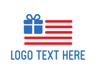 Gift - USA Gift Flag logo design